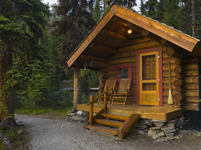 small log home in the woods