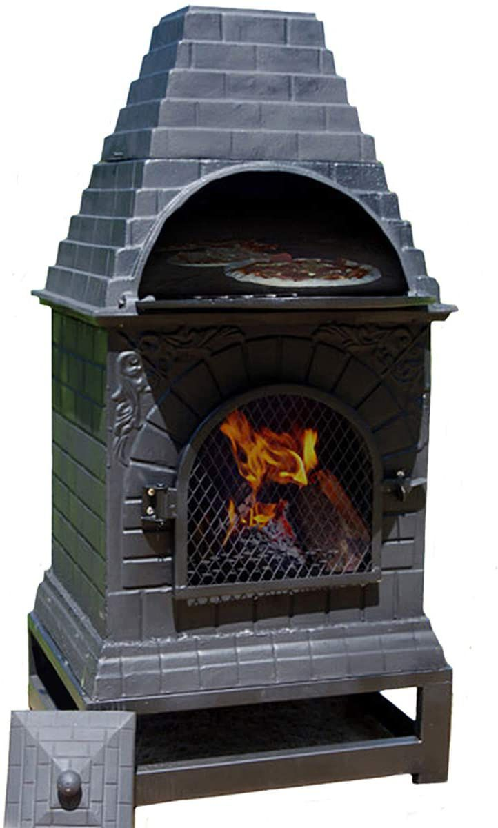 The Blue Rooster Casita Wood Burning Chiminea Outdoor Fireplace Grill