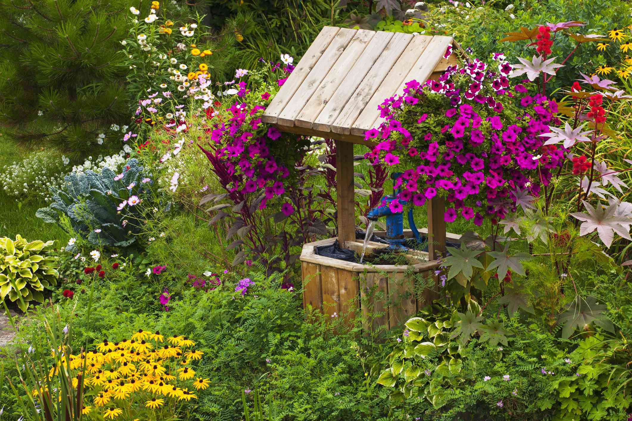 Flowers in a garden with a wishing well