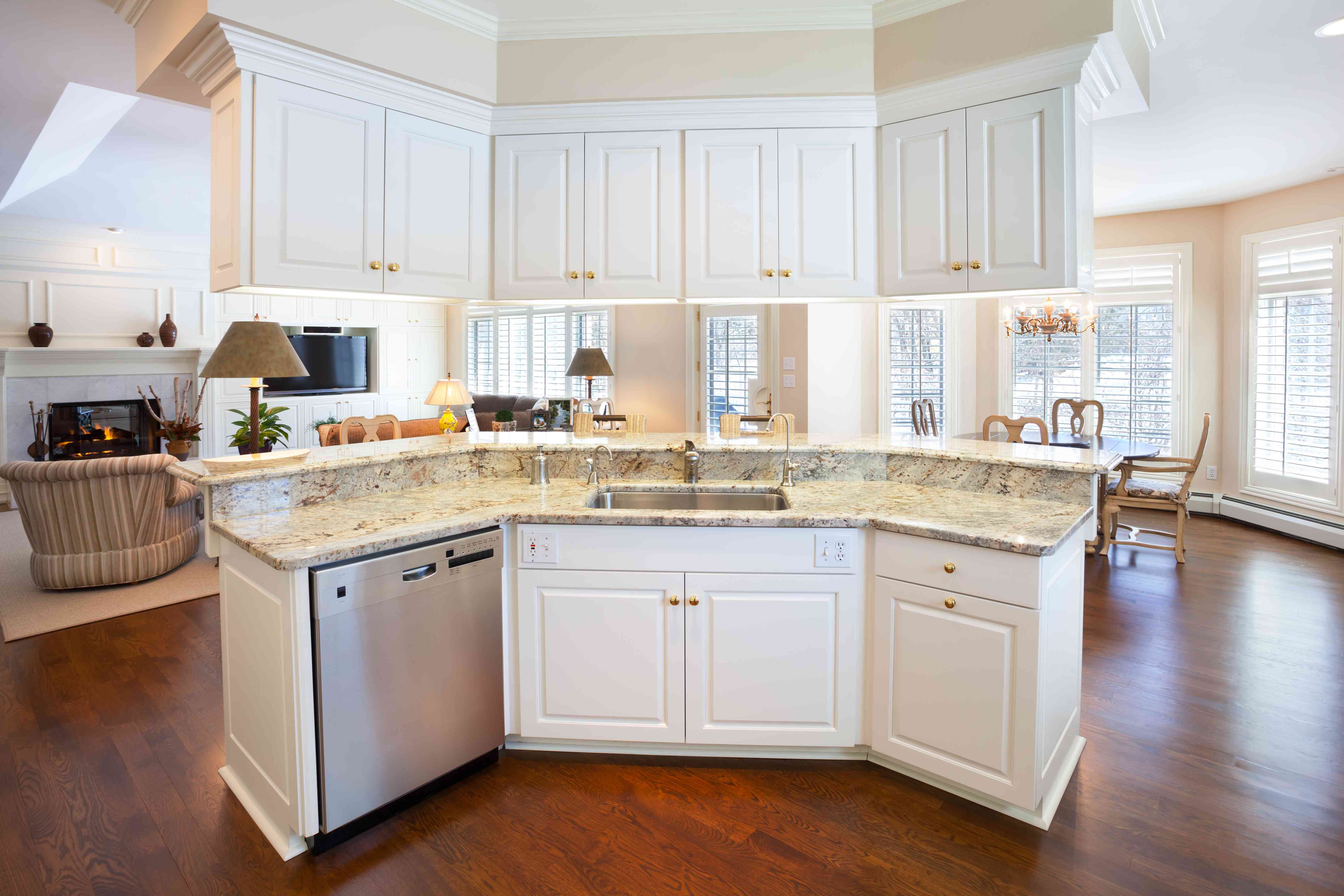 Open Concept Kitchen Island With Marble Counter