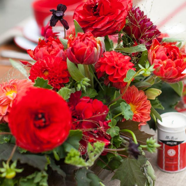 Monochromatic Red Fall Wedding Centerpiece