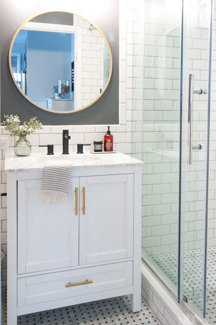 Bathroom with clear shower door