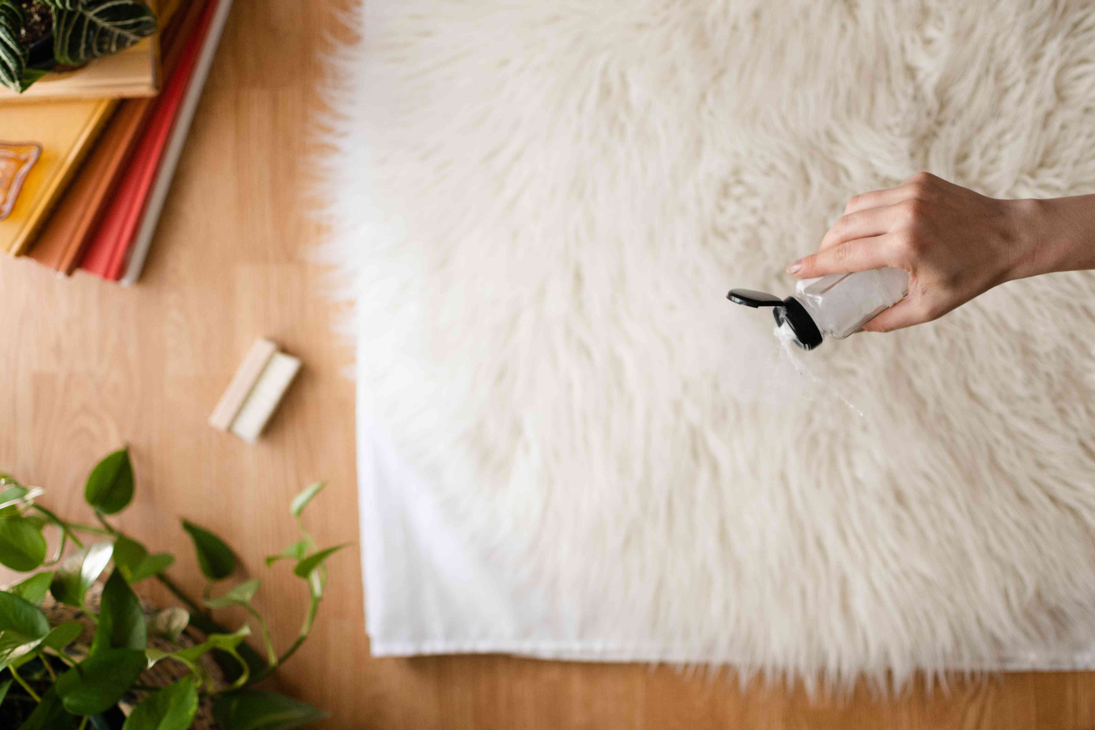 Dry shampoo carpet granules poured on to white shag rug