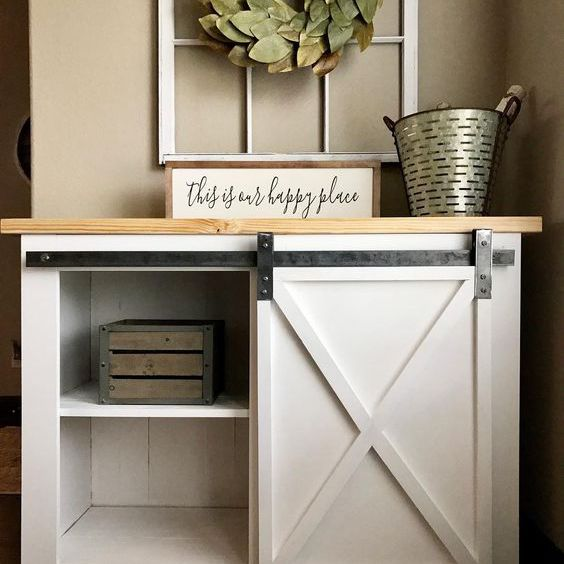 a bookcase with a barn door