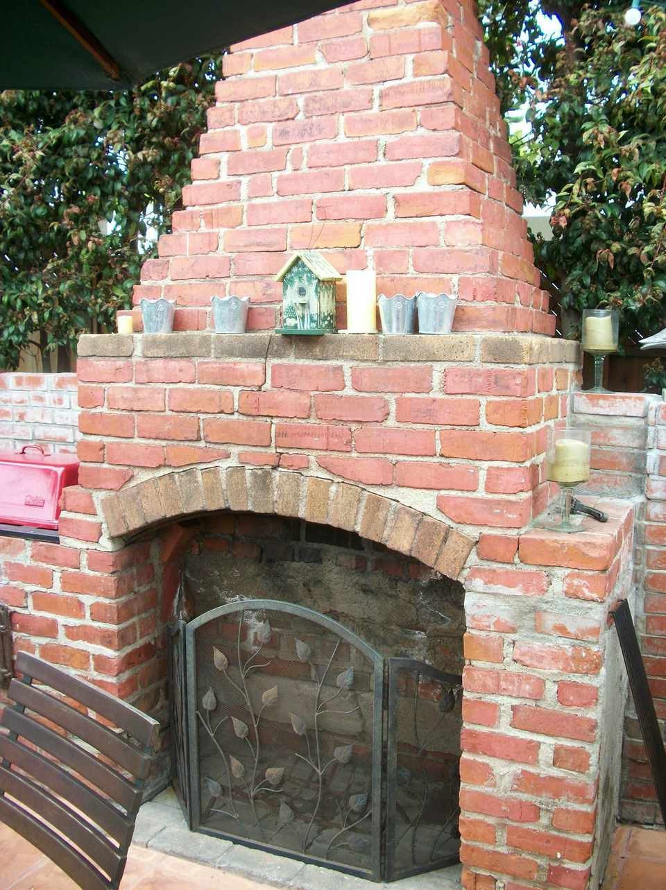 Old Brick Outdoor Fireplace