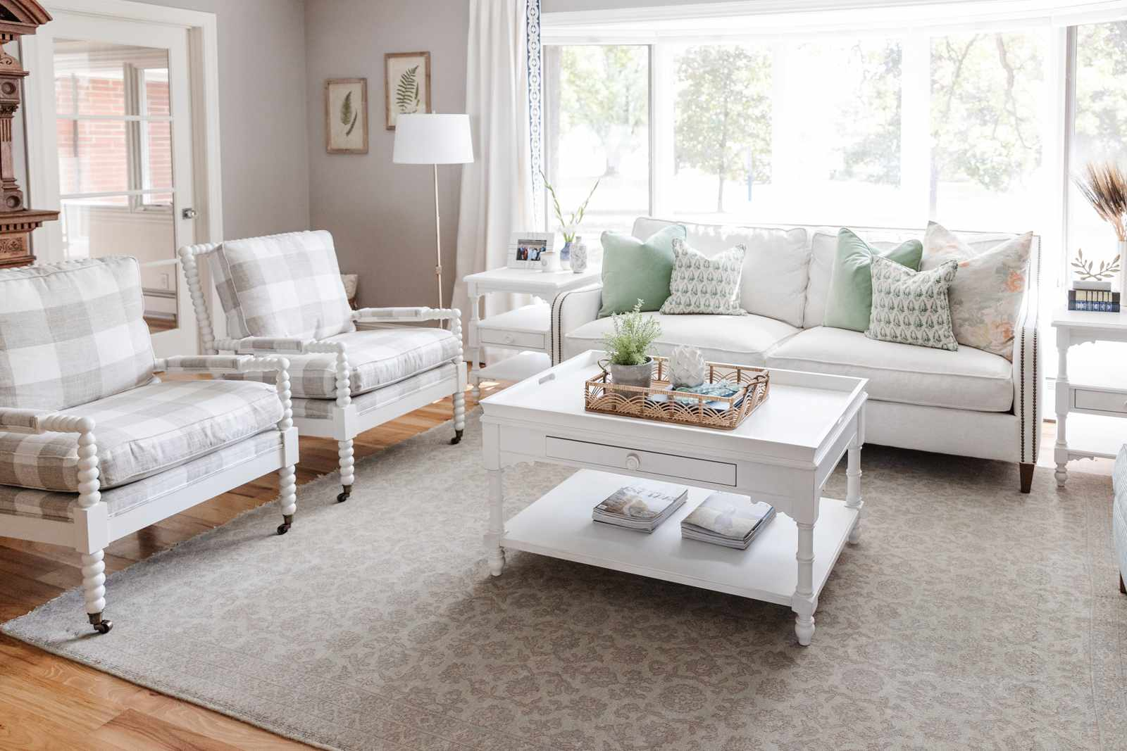 Accent chairs with Buffalo check patterned upholstery