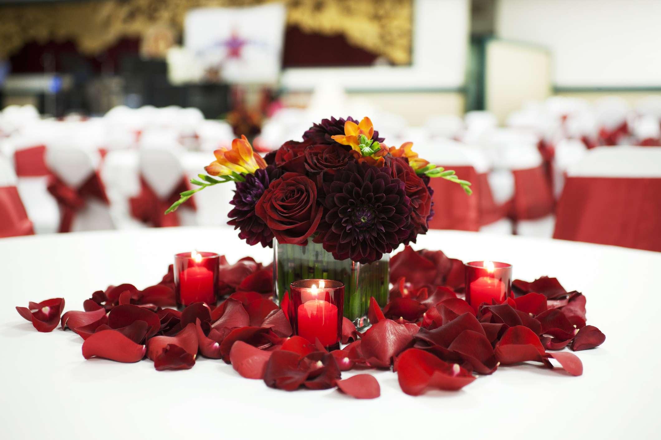 Burgundy Rose and Dahlia Wedding Centerpiece