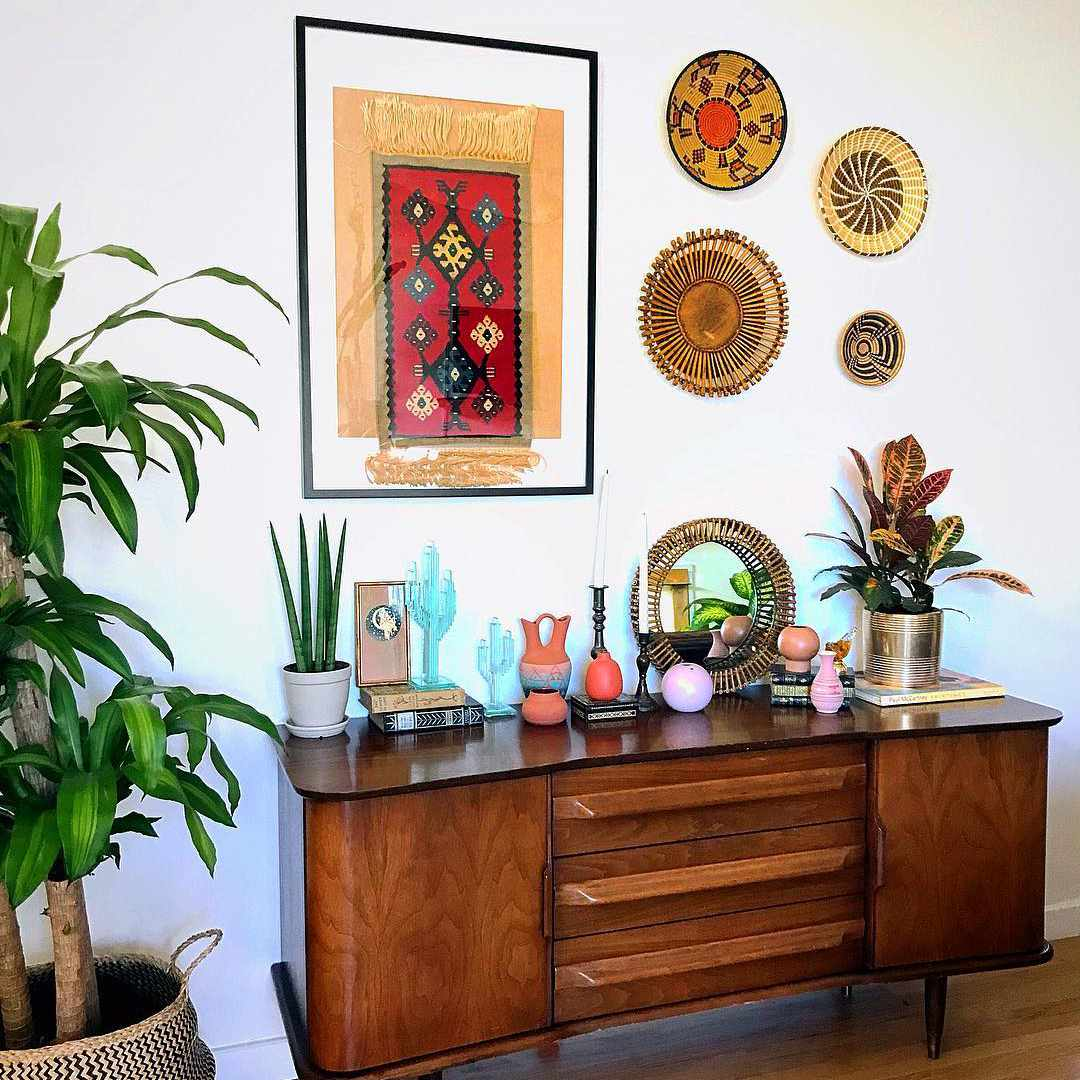 Buffet with southwestern decor on it