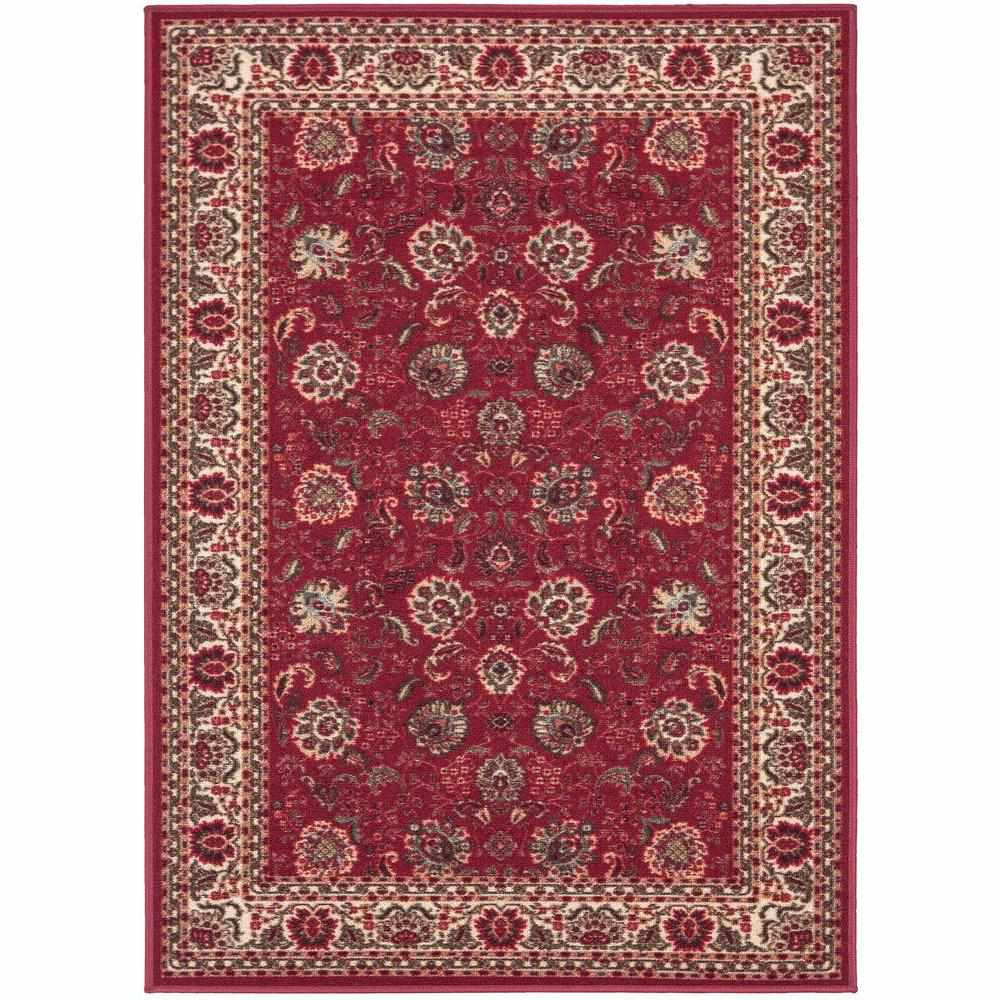 Ottomanson Ottohome Collection Traditional Floral Dark Red Area Rug