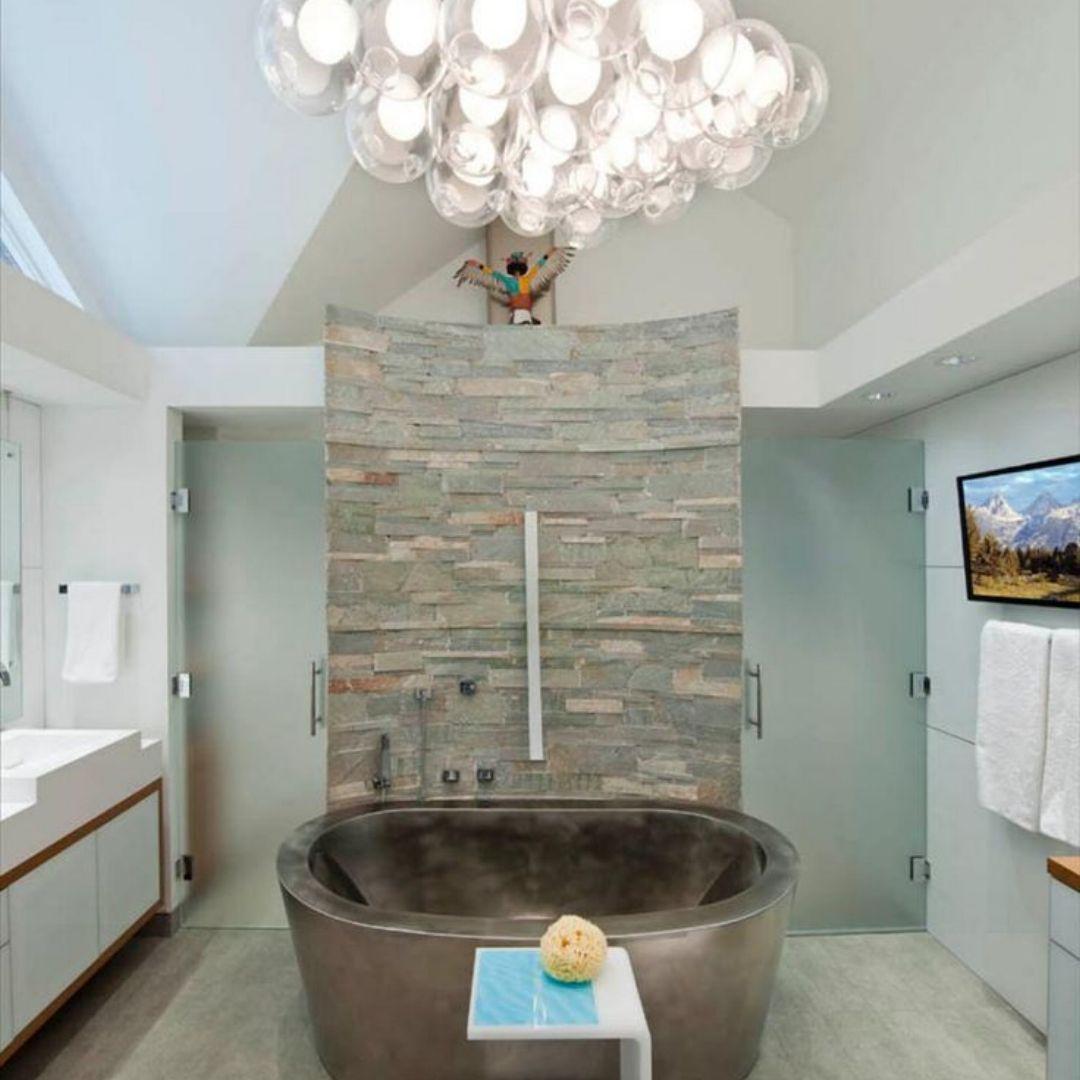Dream Contemporary Bathroom With Steel Tub