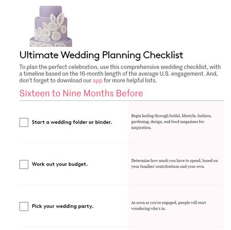 Wedding planner lists wedding planning checklist a wedding a wedding planning checklist with a cake on top of it junglespirit Image collections