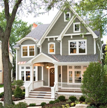 Dark Gray Exterior House Color With White Trim