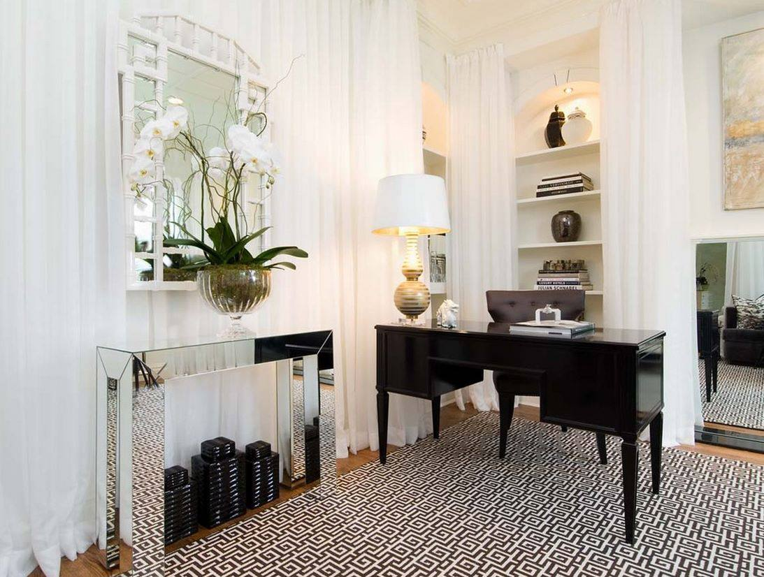 mirror console in home office