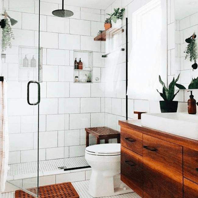 Bathroom with large white subway tiles