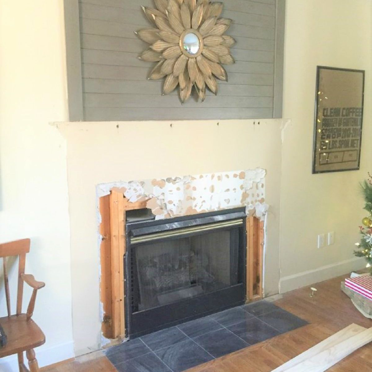 Fireplace Raised Hearth Makeover Before