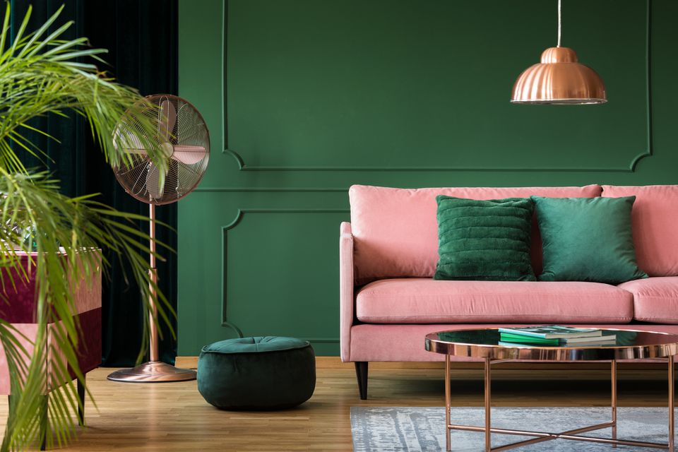 colorful living room with green and pink colors