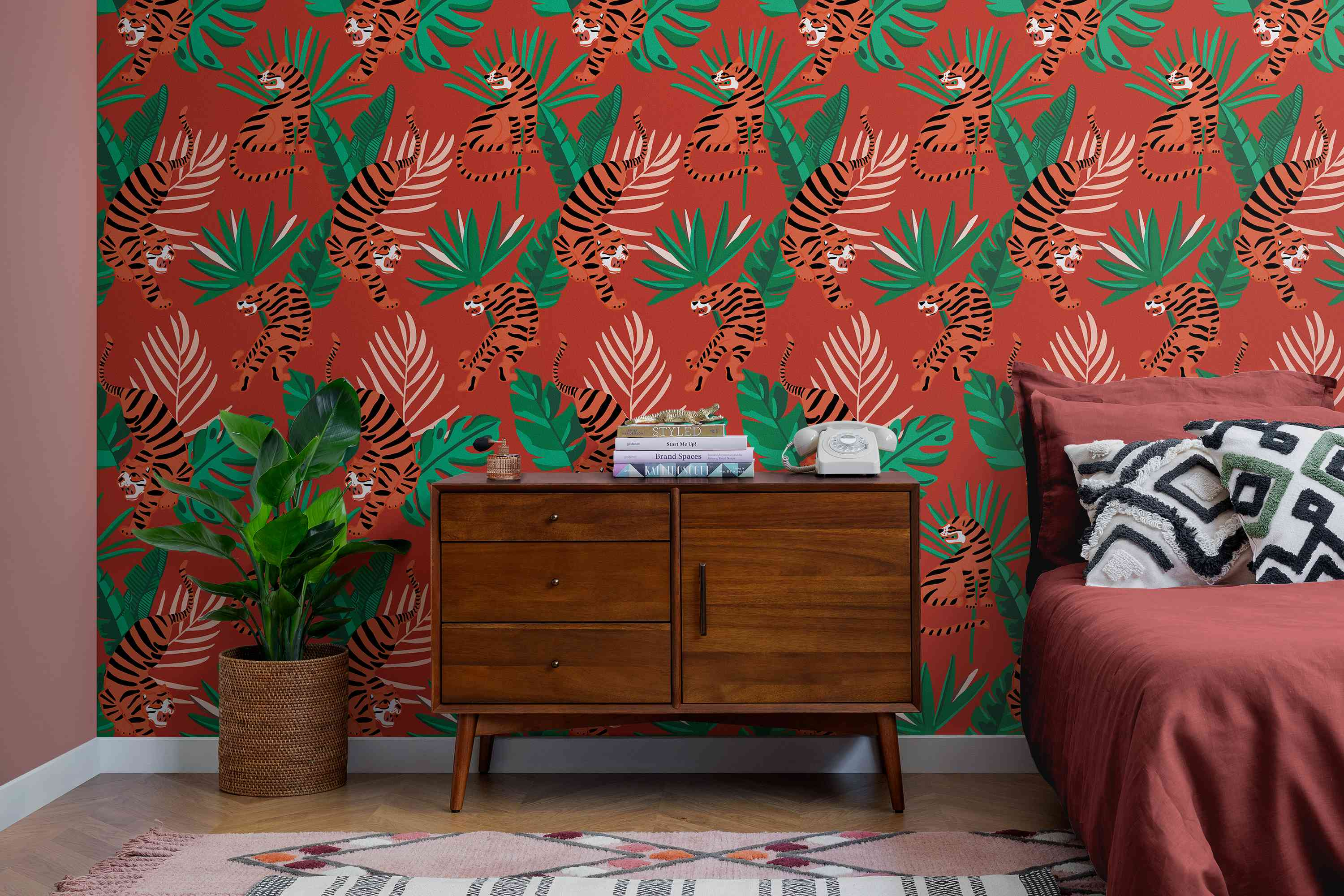 Wild Tiger Big Cat Tropical Leaves Wallpaper Mural inspired by Wes Anderson movies.
