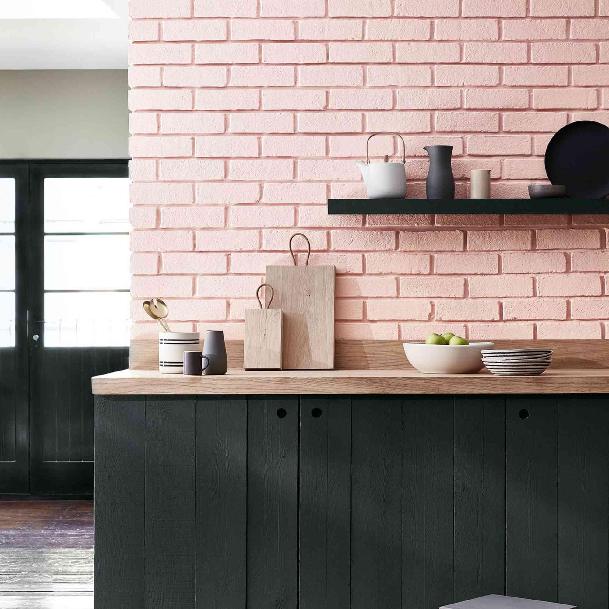kitchen with pink bricks