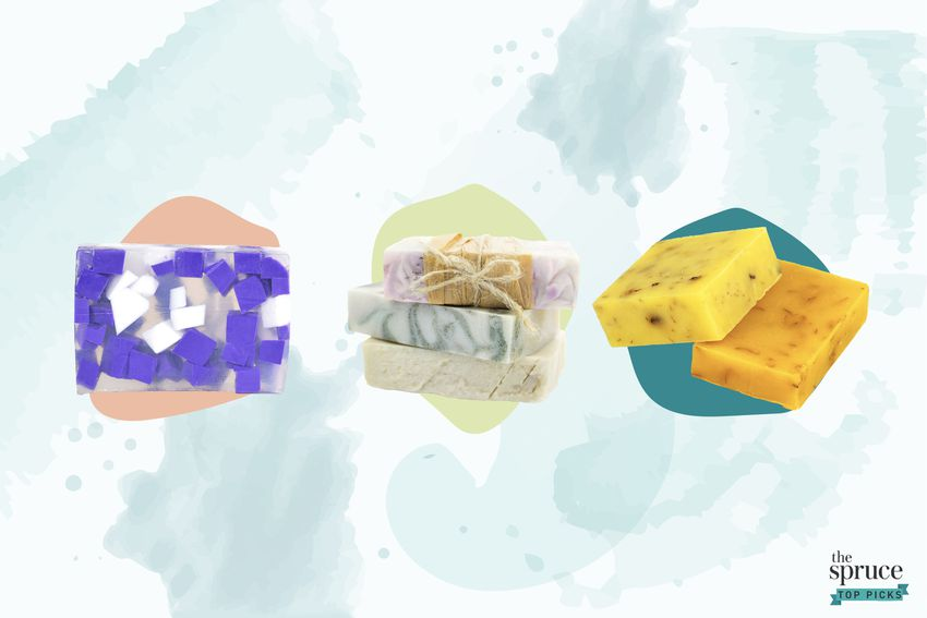 Photo composite of three handmade soaps over a watercolor brush background