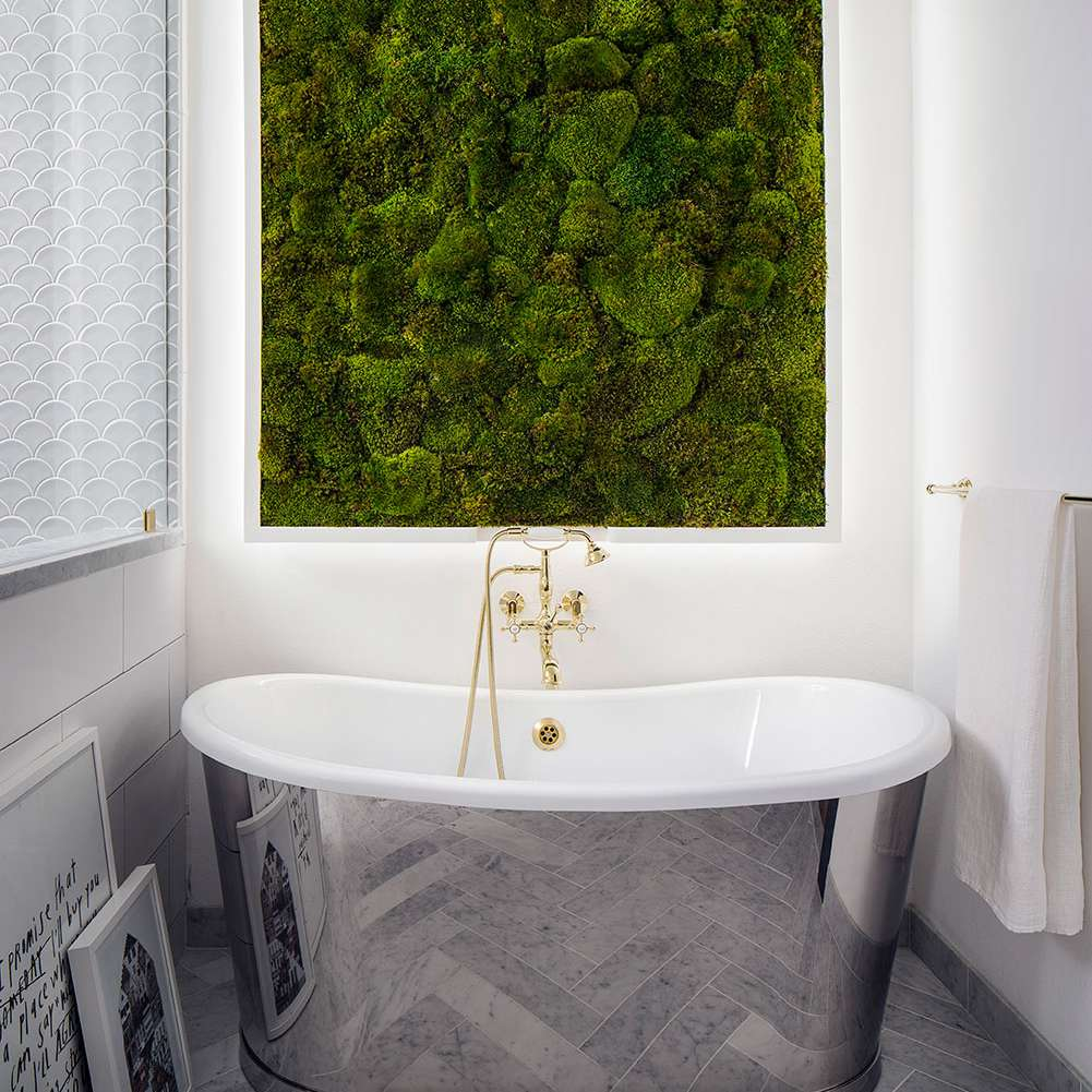 East Village Apartment With Moss Wall in Bathroom