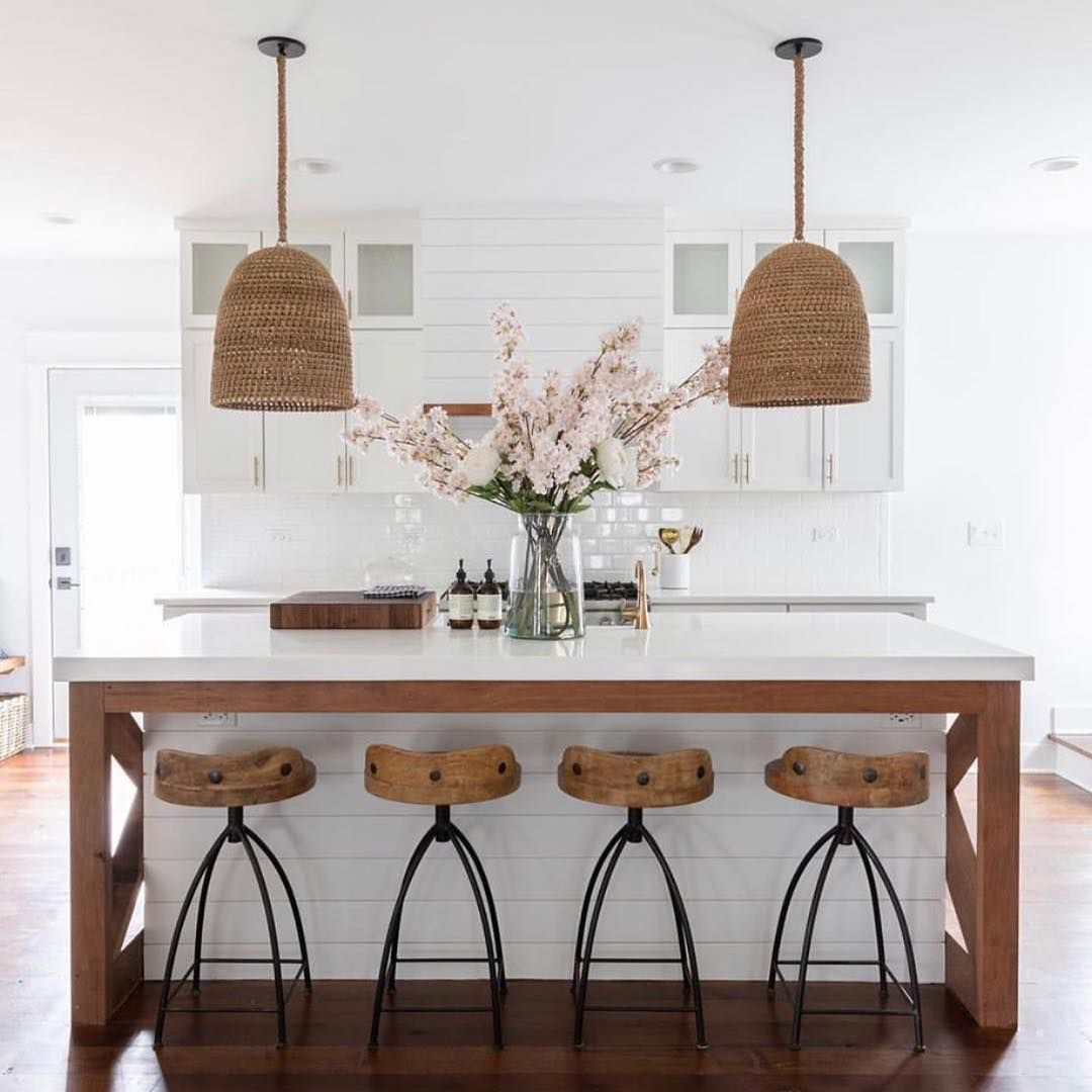 Kitchen with a large white and wooden island