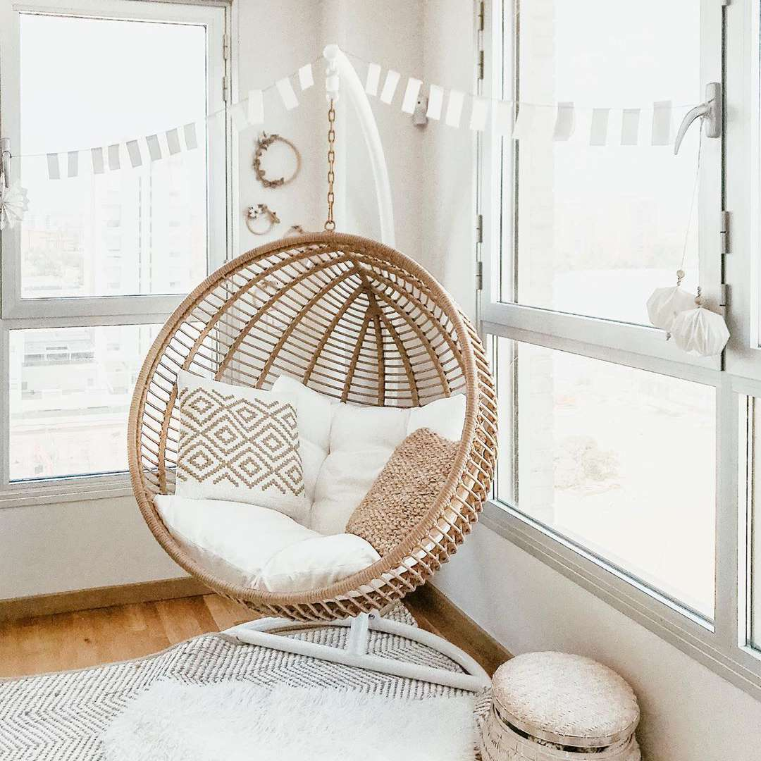 Living room with circular hanging chair