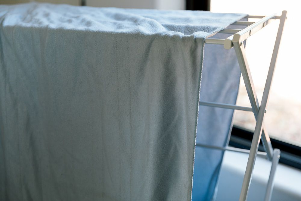 A blanket on a drying rack