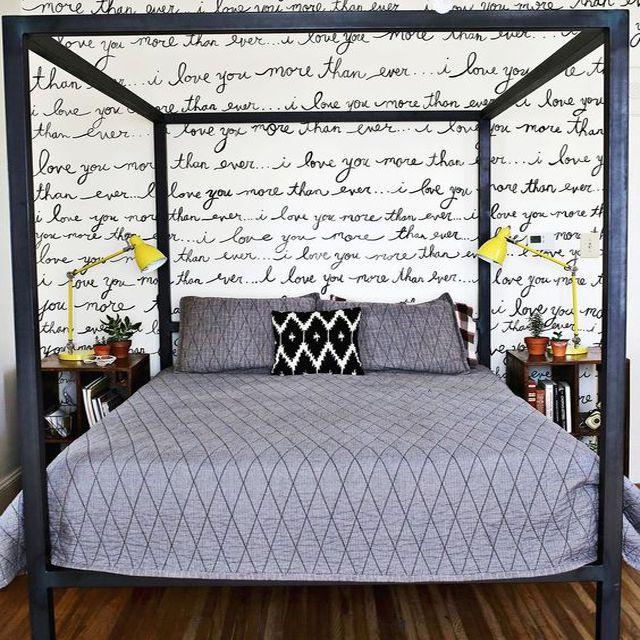 Tween or teen room with Sharpie art accent wall