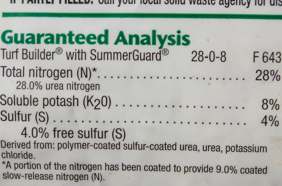 Image of NPK listing on a bag of fertilizer.