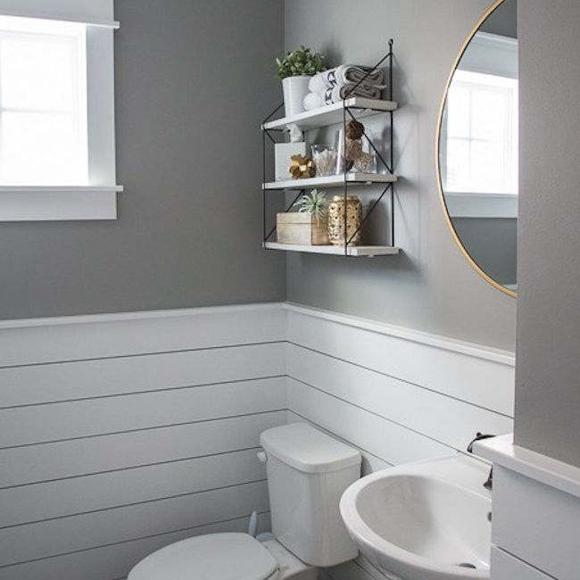 Bathroom with white shiplap