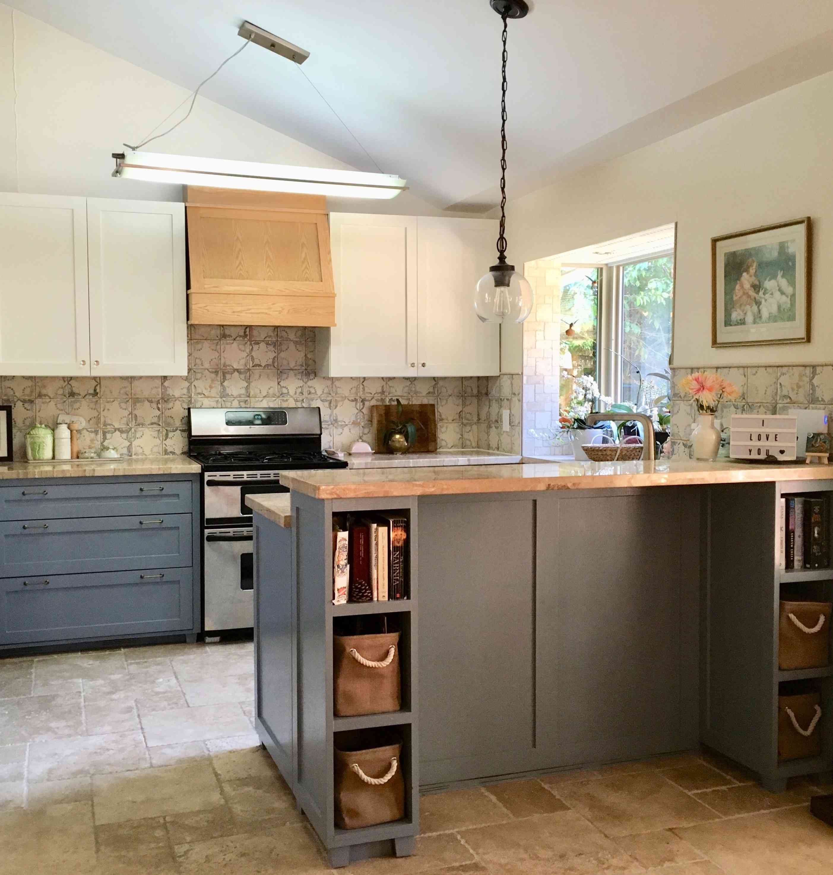 gray Spanish kitchen with butcher block counters