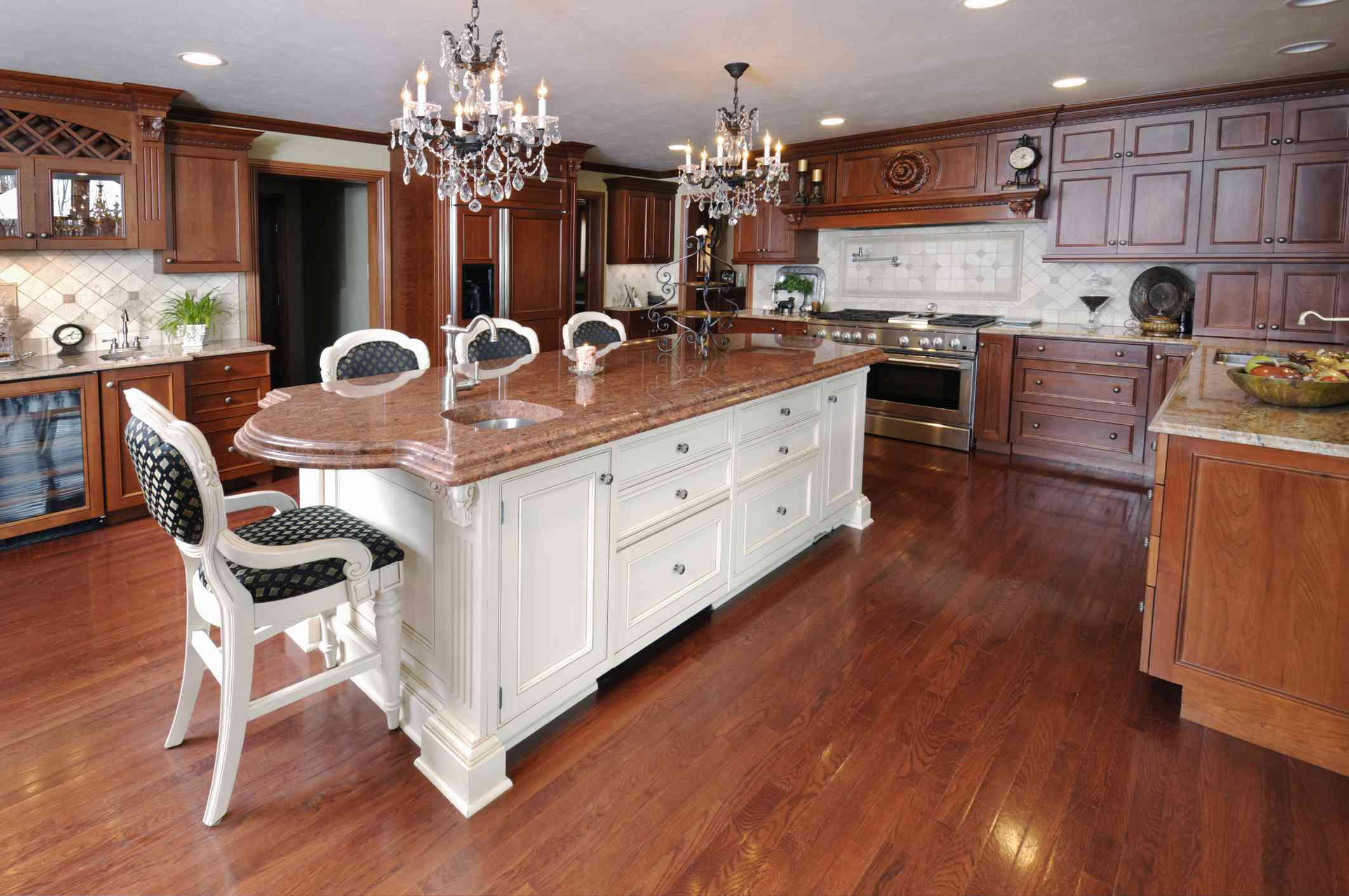 Traditional wood kitchen cabinets.
