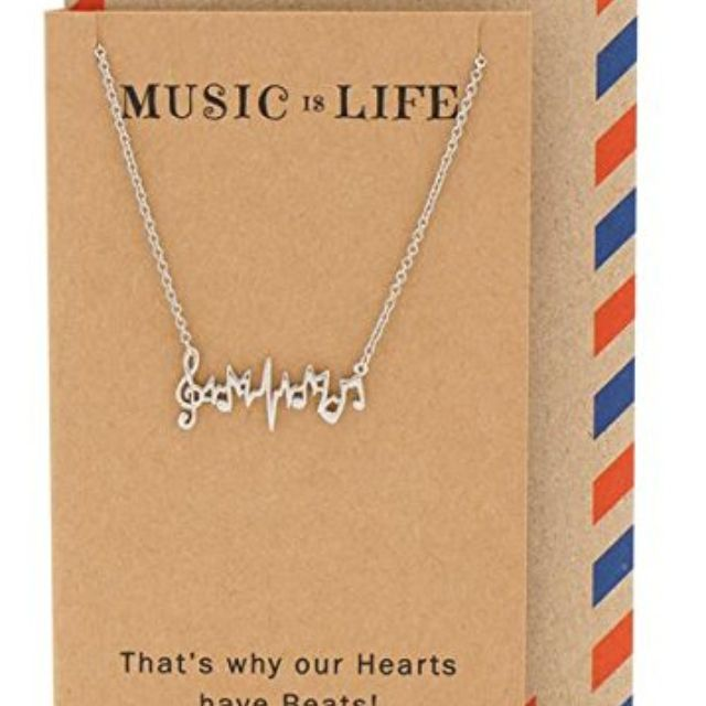Quan Jewelry Music Note Necklace, Gifts for Music Lovers, Greeting Card, 16-inch to 18-inch