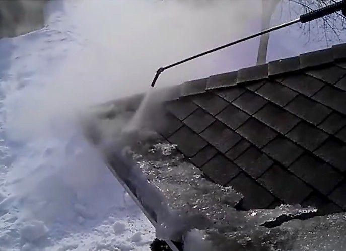 Steam ice dam removal