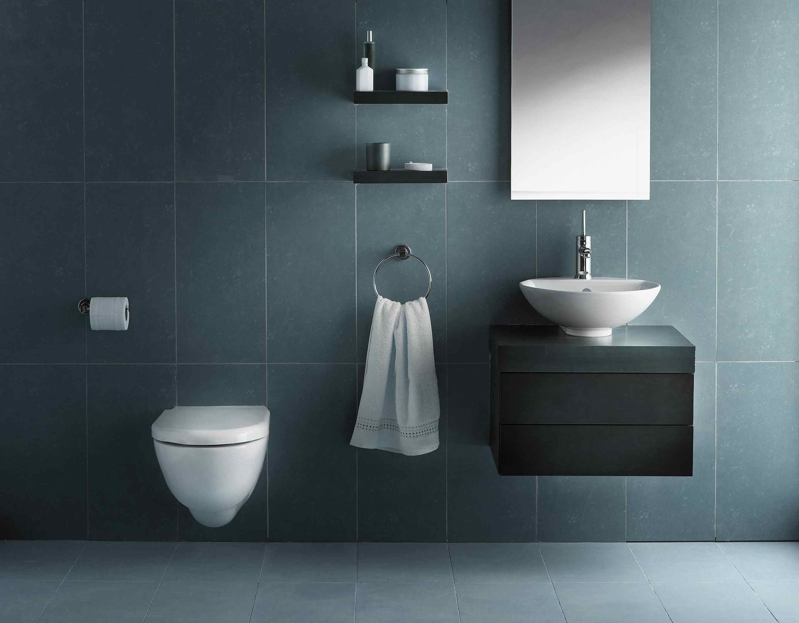 Interior of bathroom in cold tone