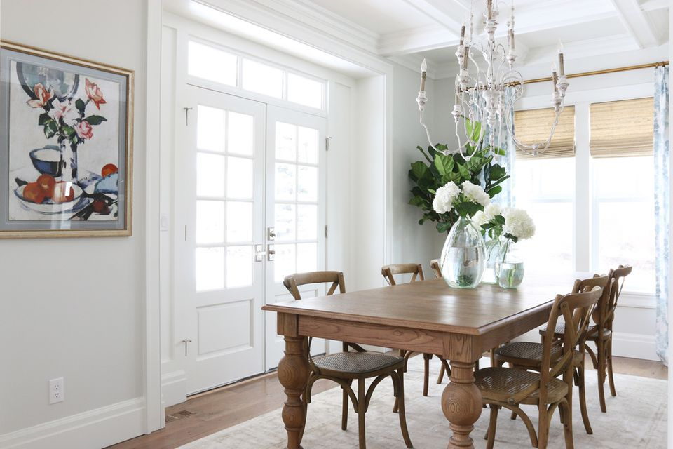 Gray dining room with shabby chic chandelier