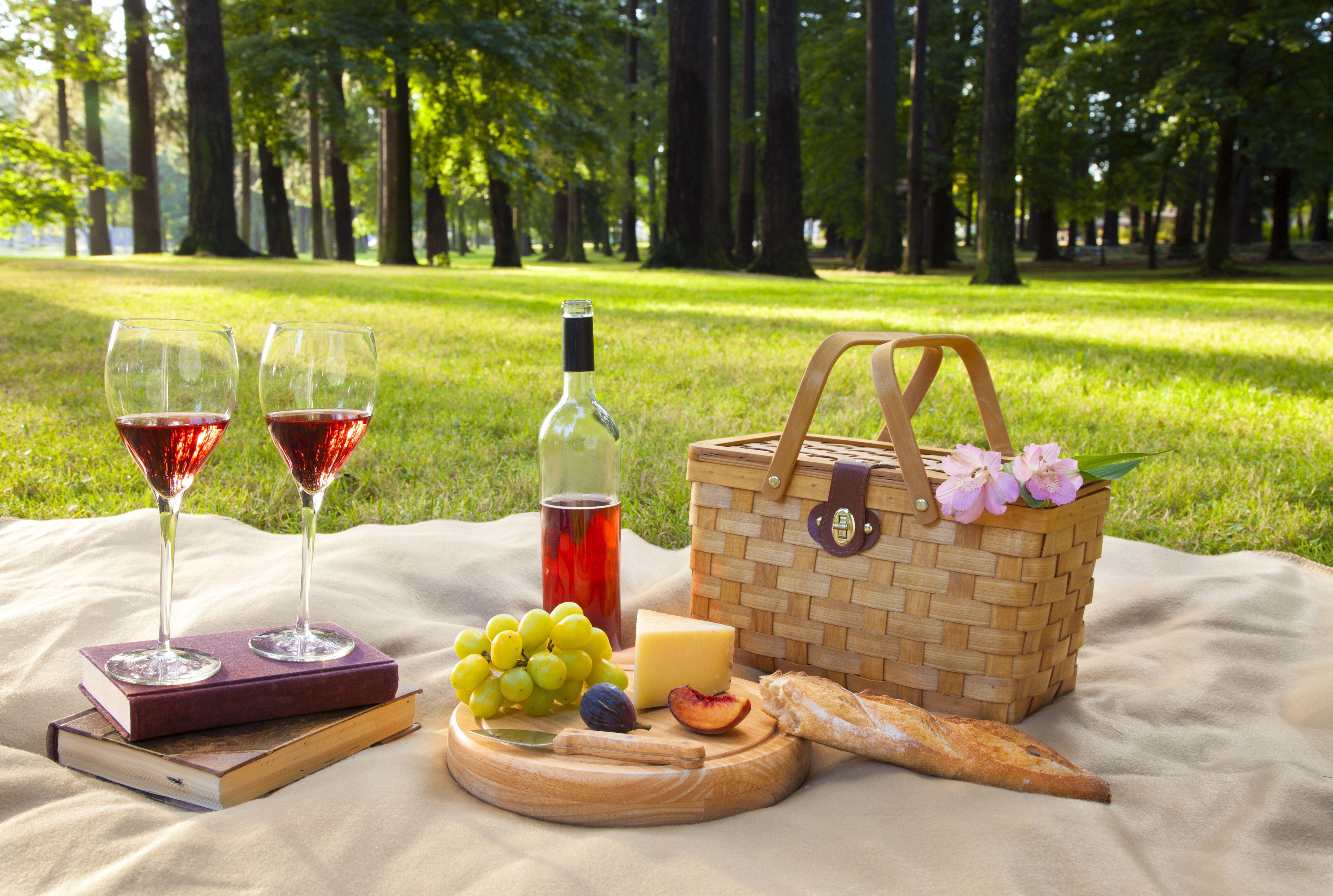 Vino, fruta, queso y pan en el picnic
