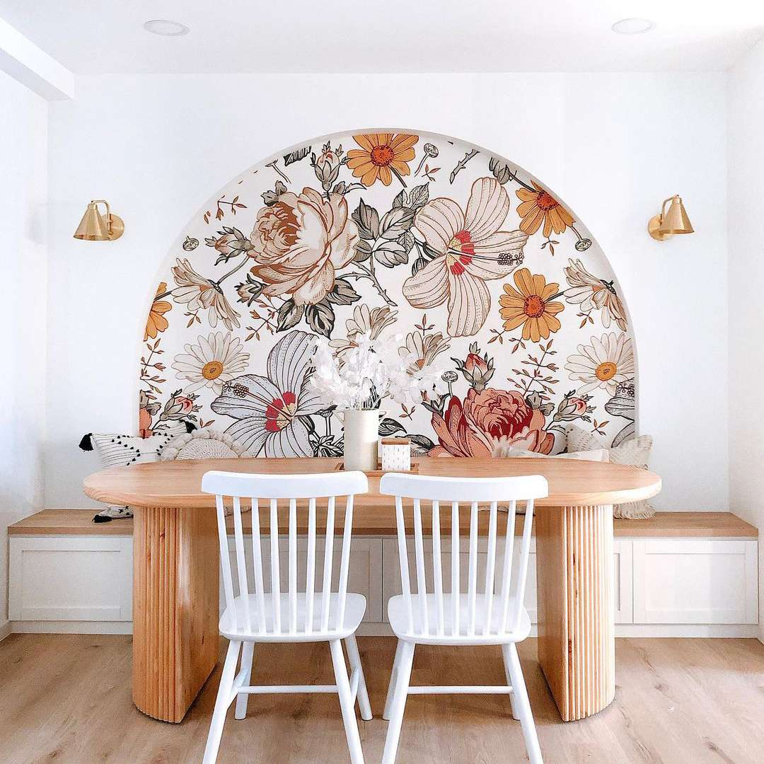 floral wallpaper accent wall