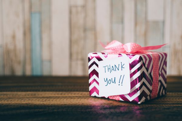 Thank you gift on a table