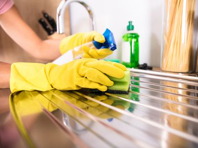 Person's Hand Cleaning Stainless Steel Sink