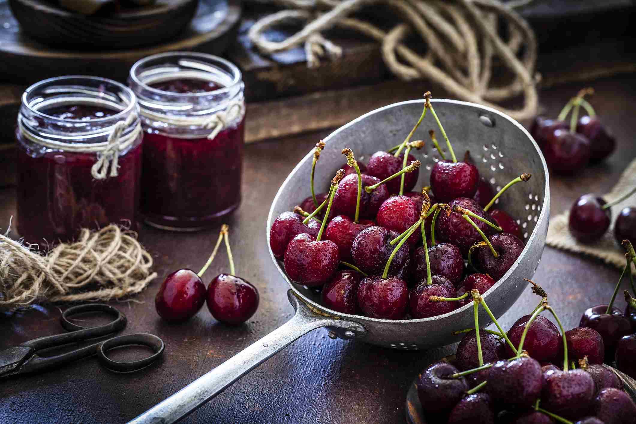Brandied cherries in small jars,