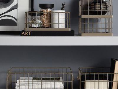 wire storage baskets on shelves