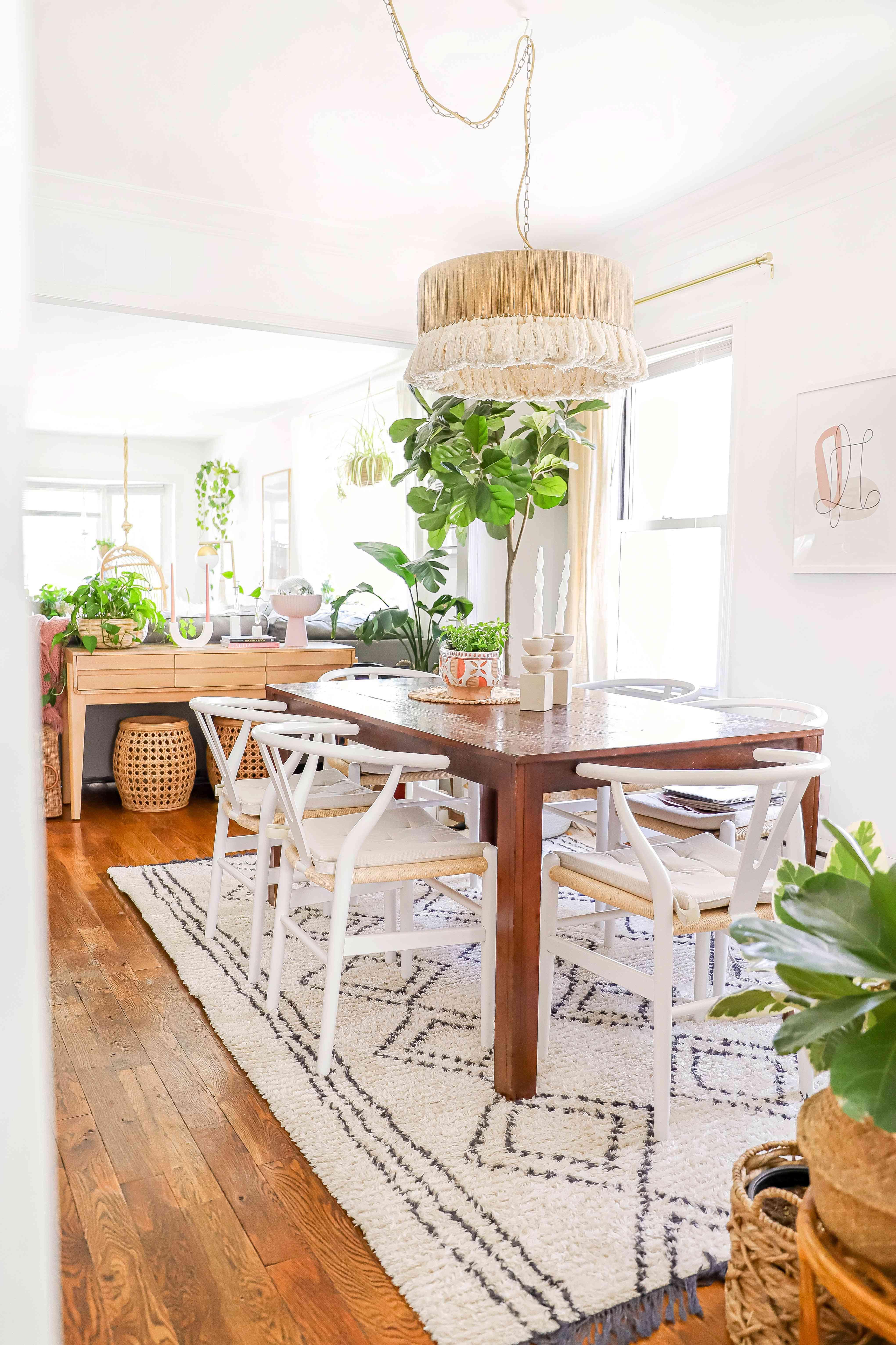 boho dining room plants