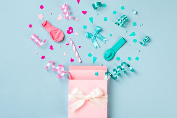 Pink and Blue Birthday or Gender Reveal Surprise Box