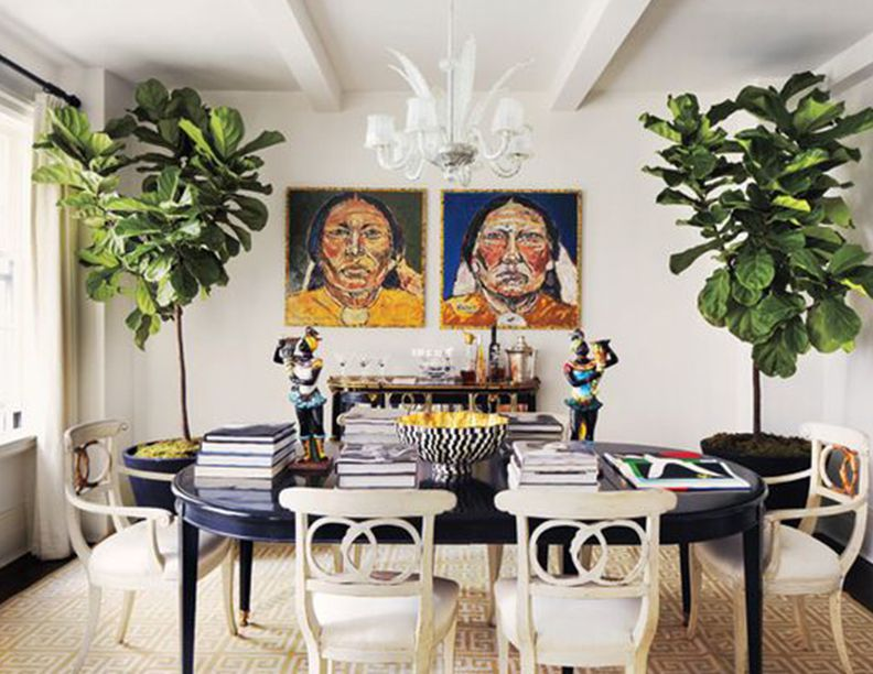 fiddle leaf fern floor plants in dining room