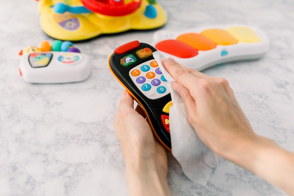 using surface wipes on baby toys
