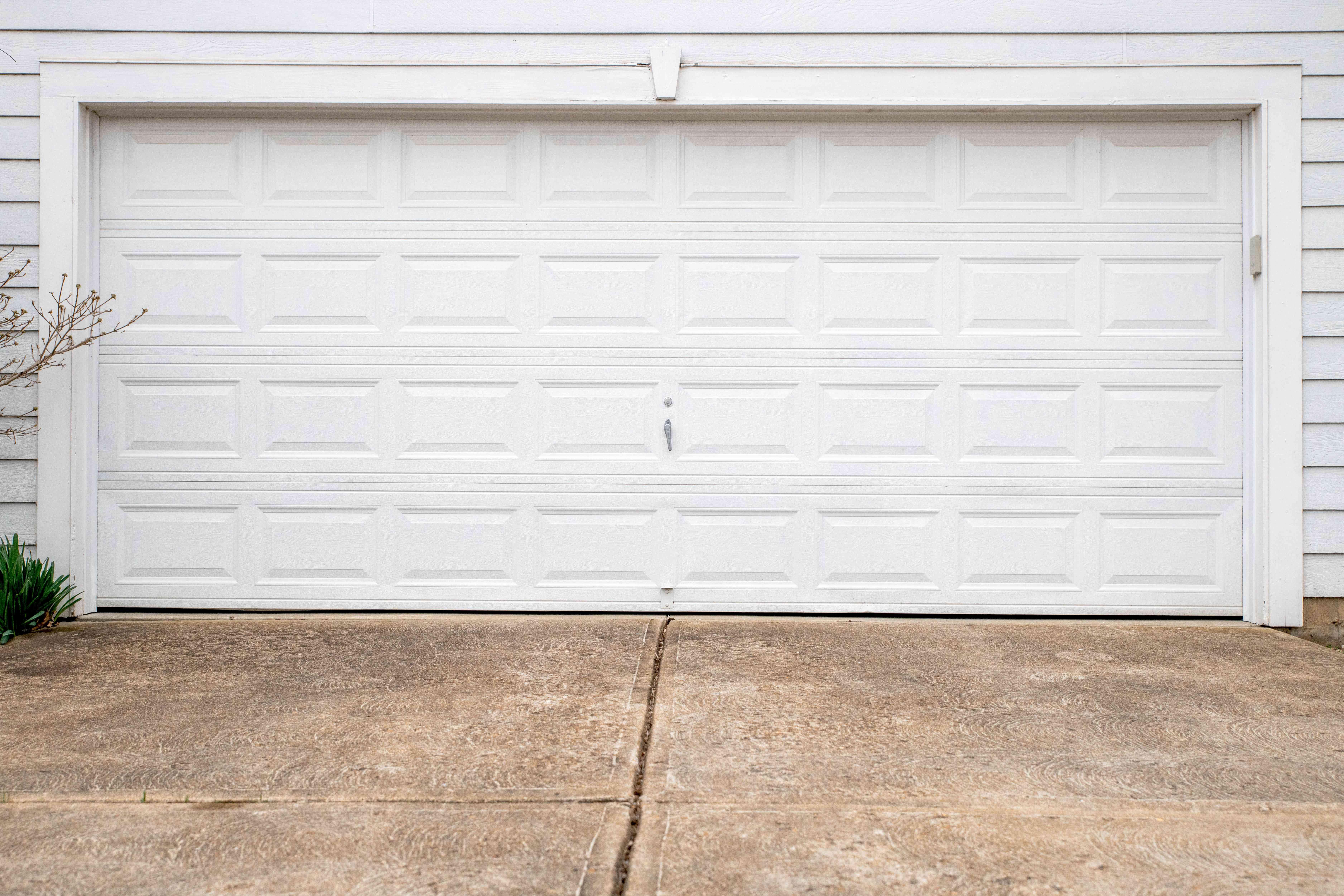 White garage door closed