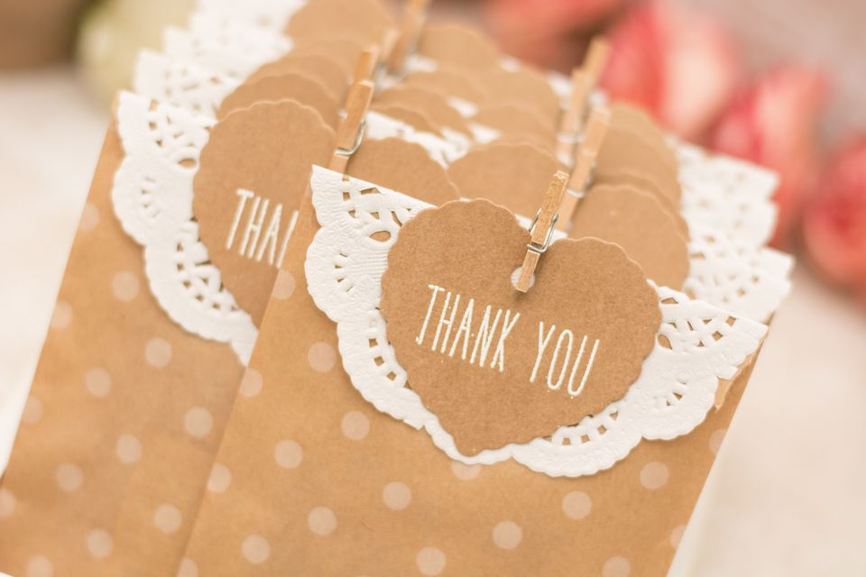 Gift bags with heart-shaped Thank You labels