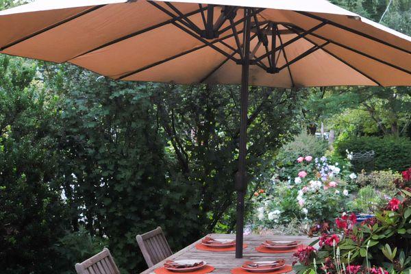 Le Papillon 15-Foot Double-Sided Market Outdoor Umbrella
