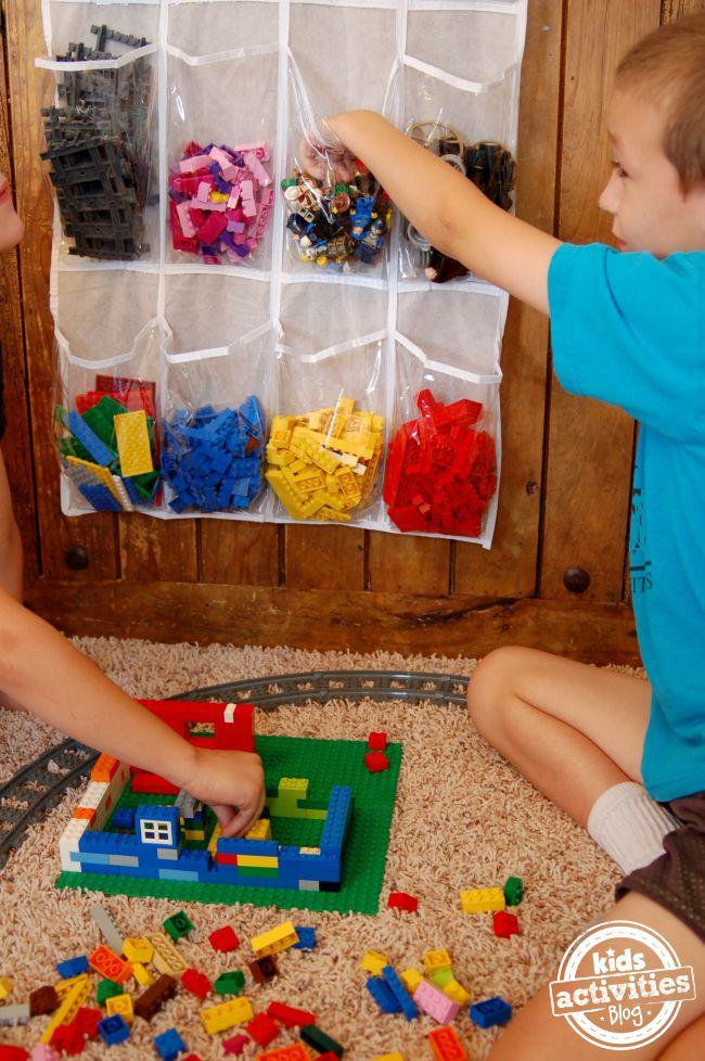 Shoe rack Lego toy storage hack